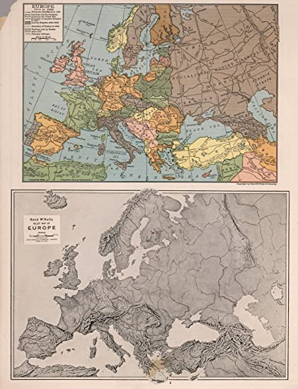Amazon.com: Map Poster - Europe 1914-1935 & Relief map of ...