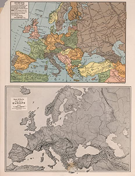 Amazon.com: Map Poster - Europe 1914-1935 & Relief map of Europe ...
