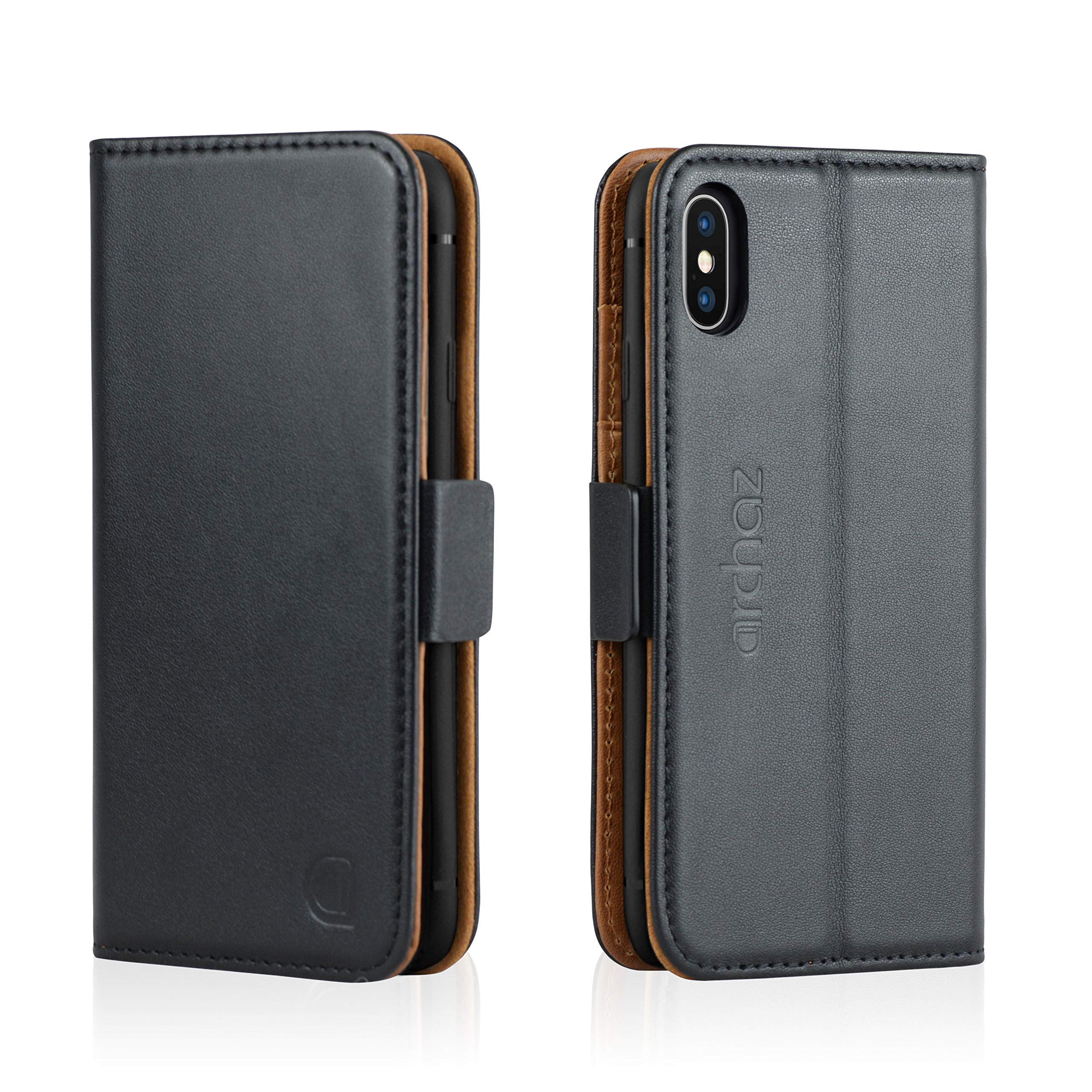 archaz iPhone X/iPhone Xs Wallet Case - Premium Leather Case for iPhone X/Xs - Flip Cover with Magnetic Latch Closure - Adjustable Viewing Stand - Compatible with Wireless Charger (Black-Brown) by archaz