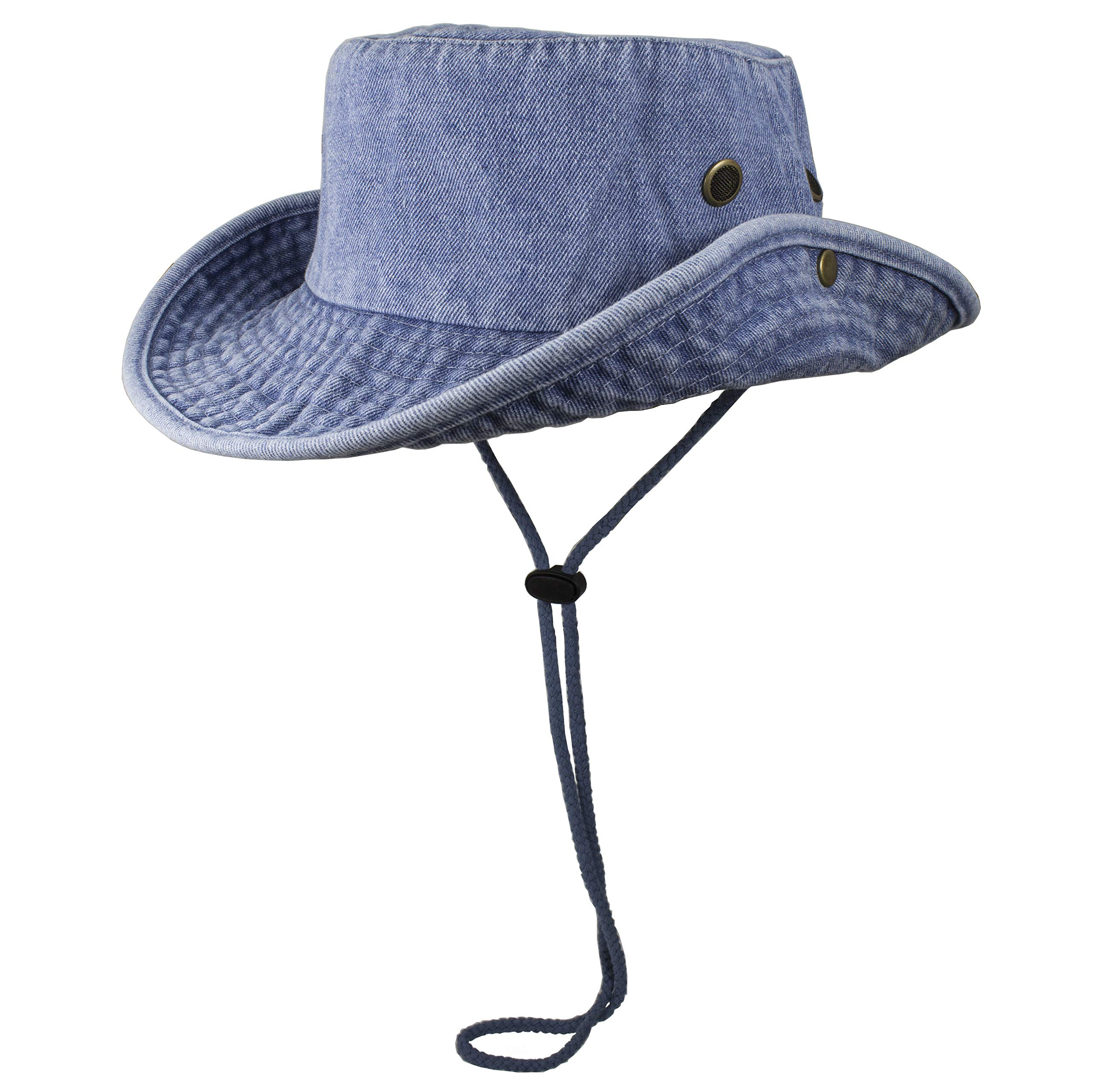 Gelante 100% Cotton Stone-Washed Safari Booney Sun Hats (Small/Medium, Denim Blue)