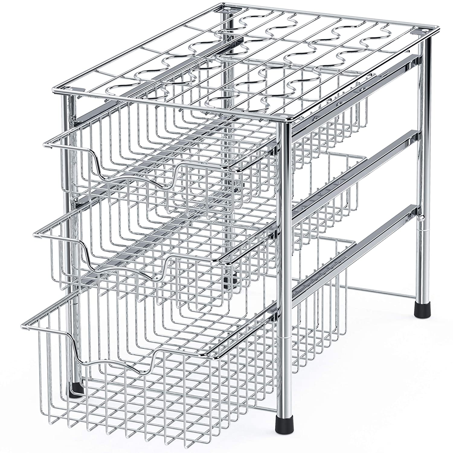 Simple Houseware Stackable 3 Tier Sliding Basket Organizer Drawer, Chrome