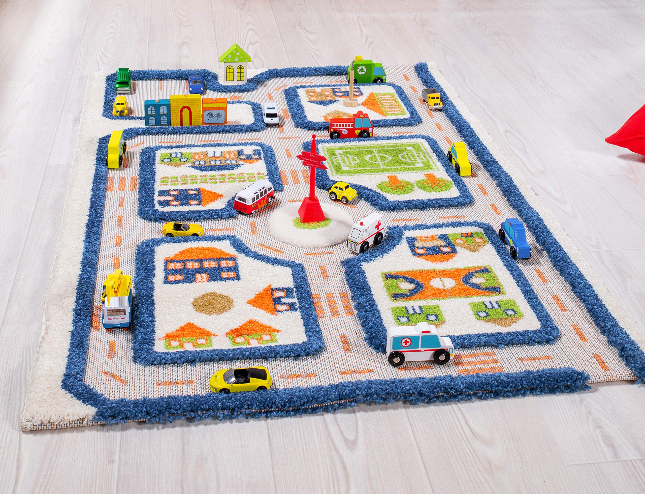 IVI Traffic 3D Play Rugs, Blue, Small by IVI