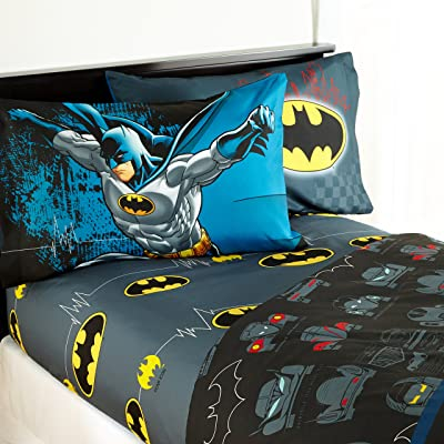 Warner Bros Batman 'Guardian Speed' Kids Sheet Set, Twin: Home & Kitchen