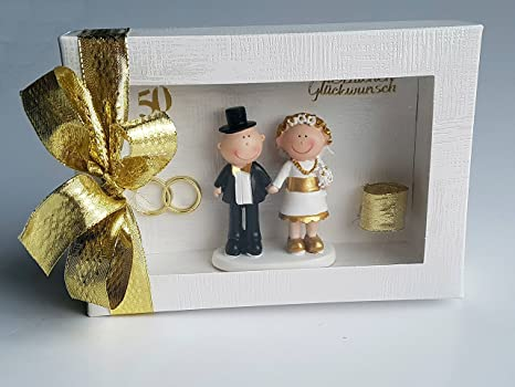 Der Kleine Dekoladen Geldgeschenk Goldene Hochzeit Brautpaar Goldhochzeit Geldgeschenk Geldgeschenkschachtel 50 Jahre