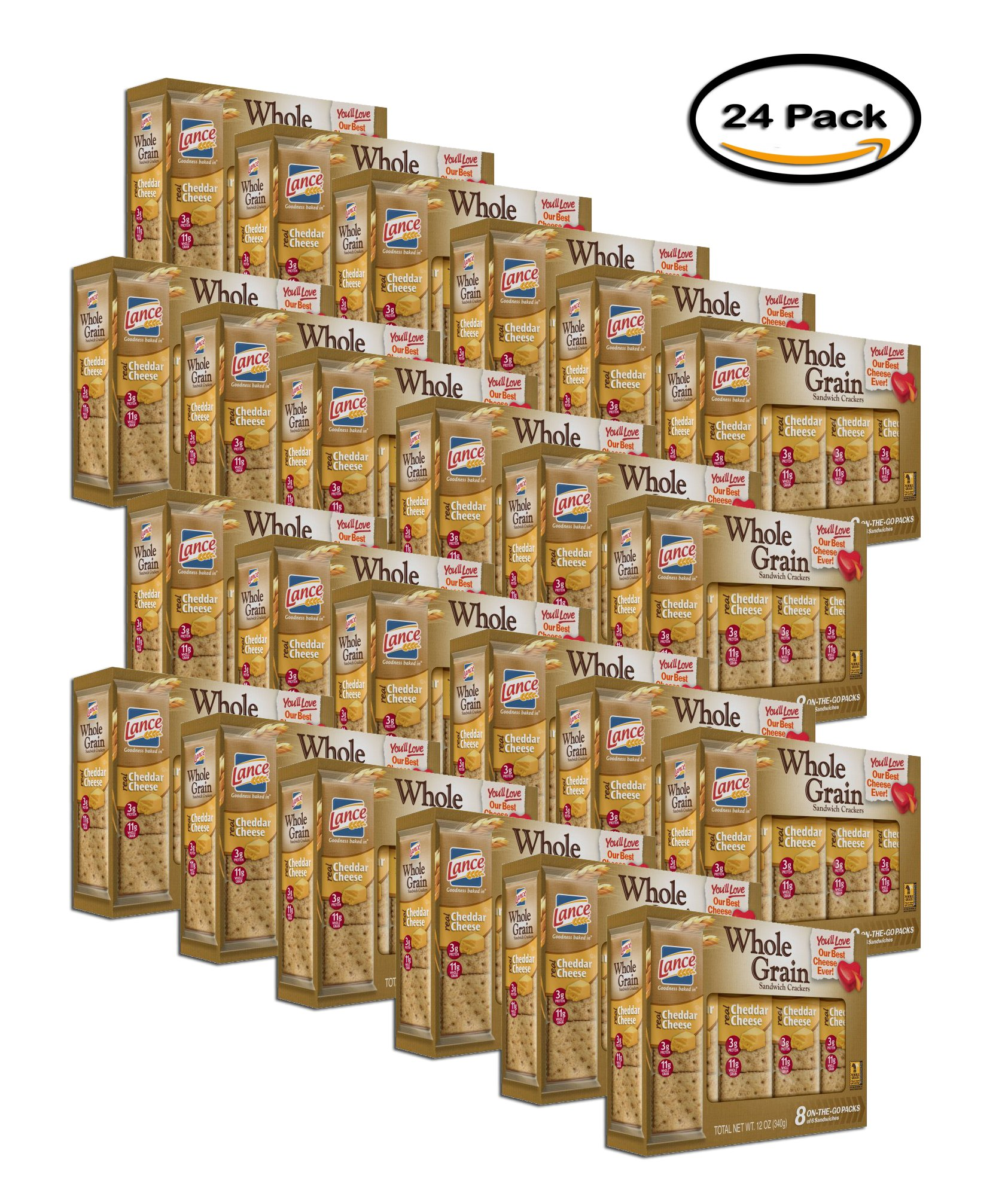 PACK OF 24 - Lance Cheddar Cheese Whole Grain Cracker Sandwiches - 8 Count by Lance