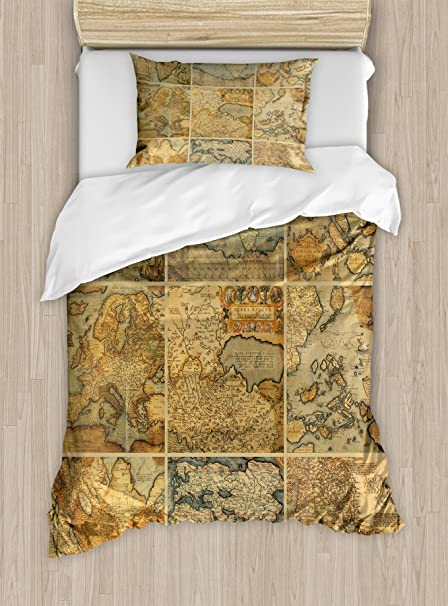 Amazon ambesonne world map duvet cover set twin size collage ambesonne world map duvet cover set twin size collage with antique old world maps vintage gumiabroncs Image collections