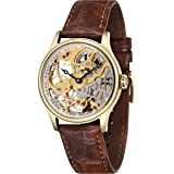 Thomas Earnshaw Men's Bauer Mechanical Skeleton Automatic Watch with Gold Dial Analogue Display and Brown Leather Strap ES-8049-02