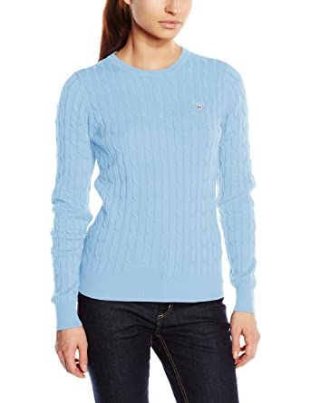 eaf6224c91ac3a Gant Women's Stretch Cotton Cable Crew Jumper: Amazon.co.uk: Clothing