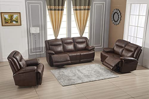 Betsy Furniture Bonded Leather Reclining Sofa Couch Set Living Room Set 8006 Brown, Sofa Loveseat Recliner