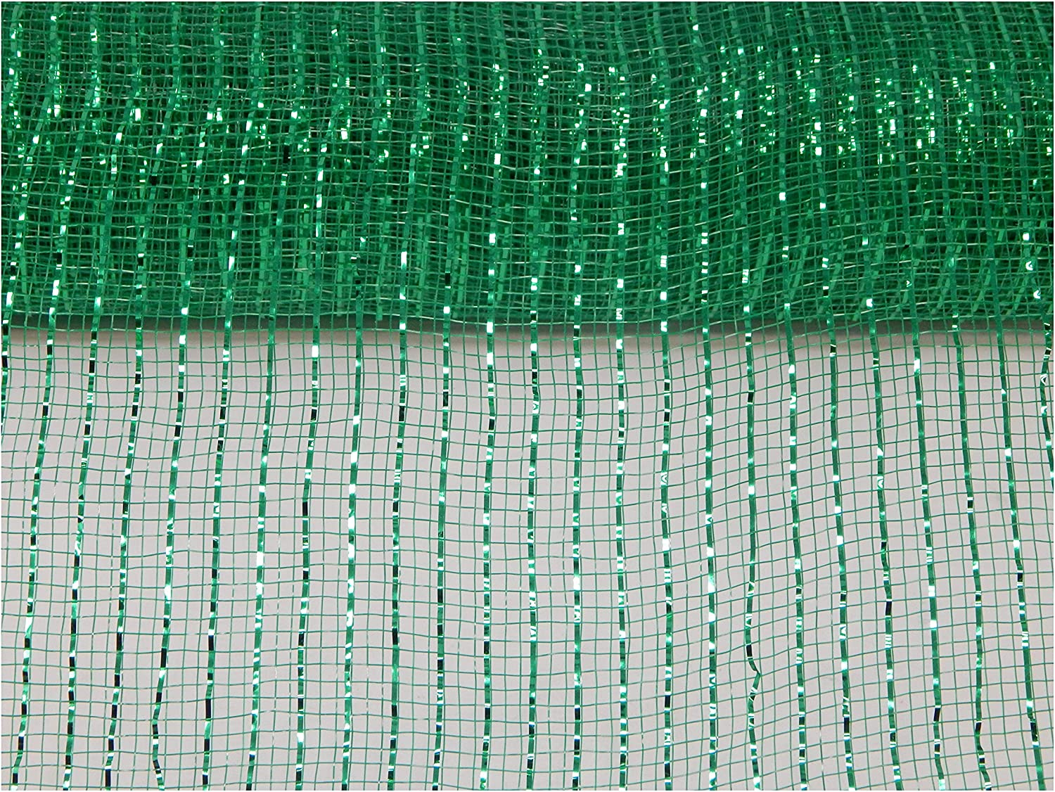 Floral Supply Online - 10 inch x 30 feet Metallic Deco Poly Mesh Ribbon. The Exclusive Metallic Mesh with A Unique Touch of Color and Sparkle. (Emerald)