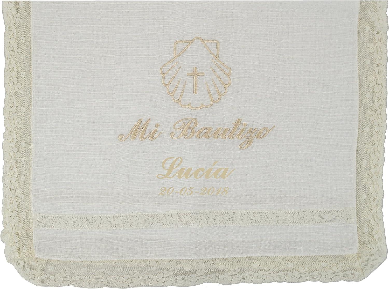 Paño bautismal color beige bordado con el mensaje