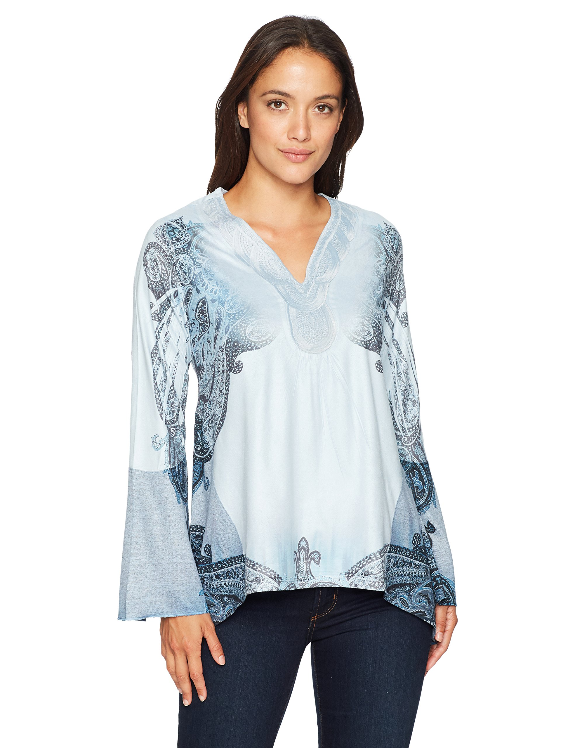 OneWorld Women's Petite Long Sleeve Faux Suede Printed Top with V-Neck, Frozen Paisley/Winter Sky, PS