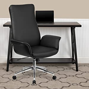 Flash Furniture High Back Black LeatherSoft Executive Swivel Office Chair with Flared Arms