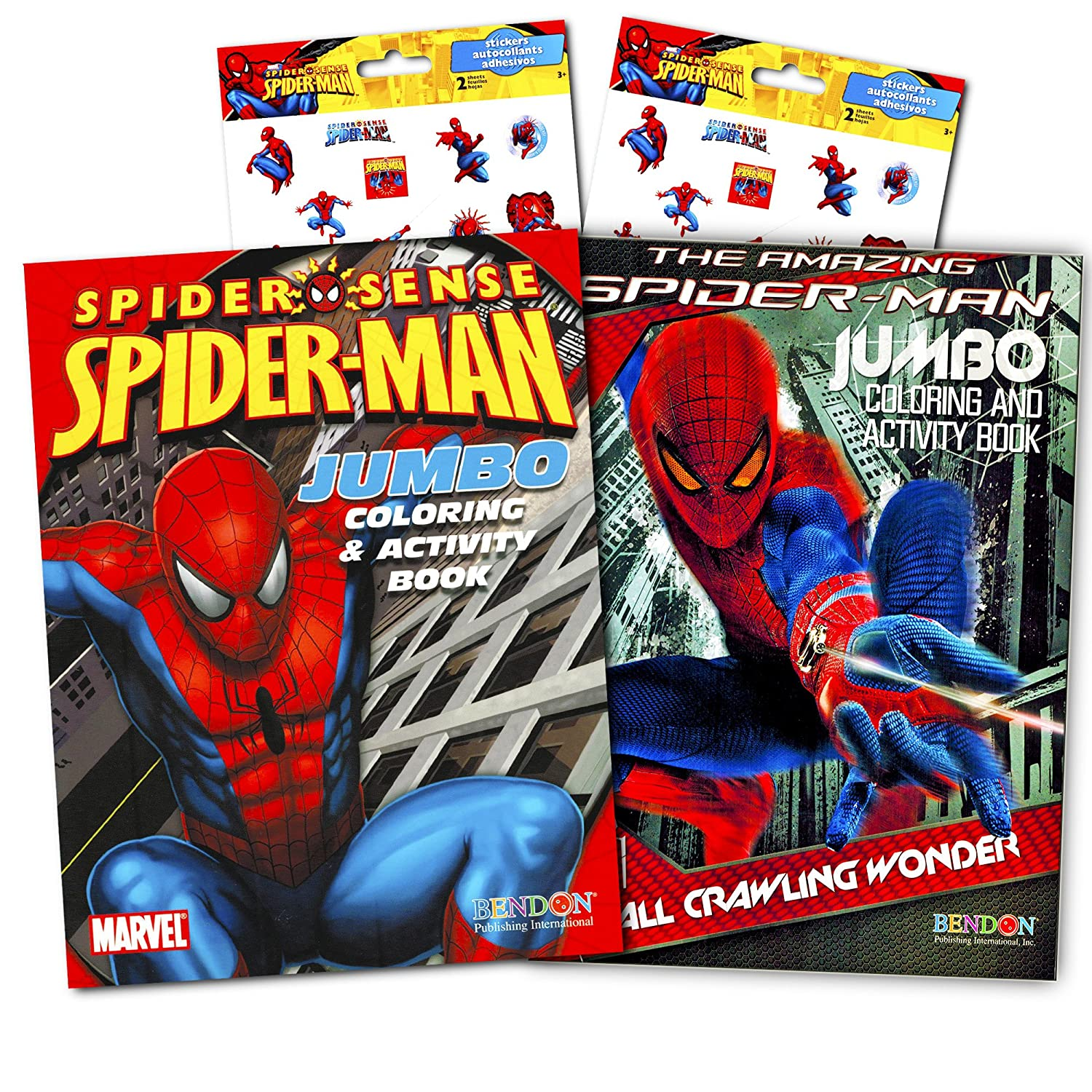amazon com marvel spiderman coloring and activity book set with