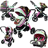 iSafe System - Owl & Button Trio Travel System Pram & Luxury Stroller 3 in 1 Complete With Car Seat And ISOFIX Base