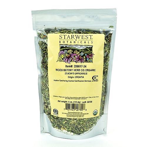 Starwest Botanicals Organic Wood Betony Herb C S, 4 Ounces