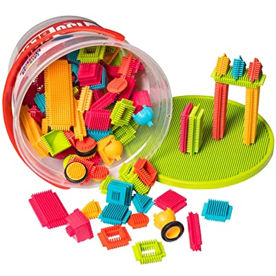 PlayBuild Brisle Blocks Building Set - Educational Construction Interlocking Stacking Brisle Builder for Toddlers with Illustrated Guide Book (150-Pieces in Storage Bucket): Toys & Games