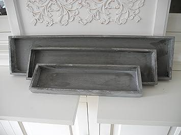 3x Tablett Für Deko Gesteck Adventskranz Holztablett Holz Vintage Shabby  Chic Grau