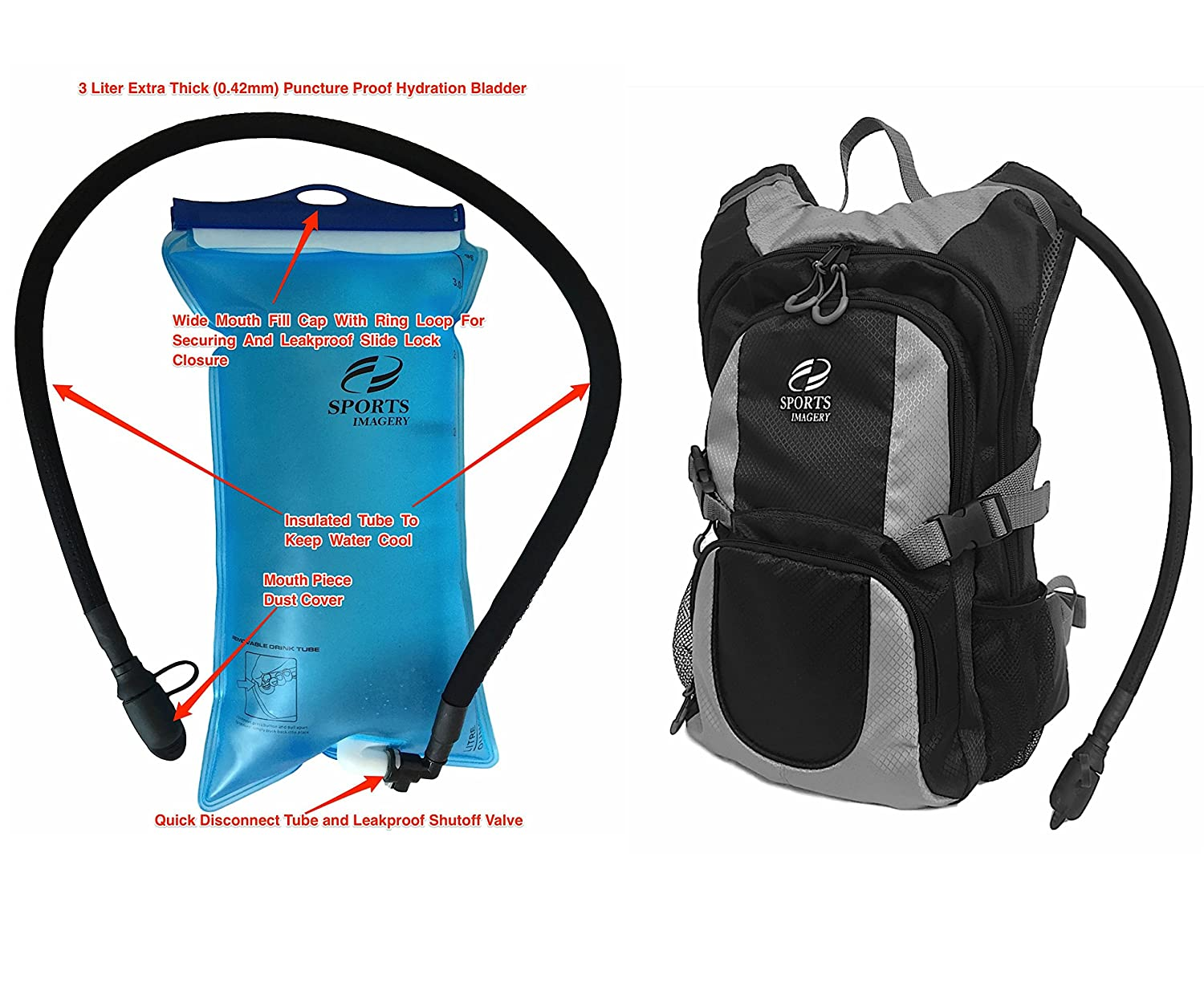 Amazon.com : Sports Imagery-Hydration Backpack, 3 Liter - Black ...