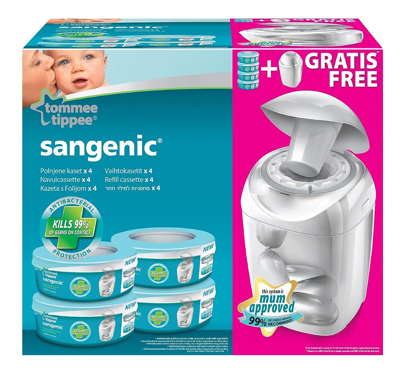 Sangenic 25056 0030 22 - Cubo para pañales con sistema de enrollado individual anti olores con cierre hermético (incluye 4 cápsulas de bolsas), blanco Jackel International 25056-0030-22