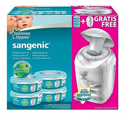 Sangenic 25056 0030 22 - Cubo para pañales con sistema de enrollado individual anti olores con cierre hermético (incluye 4 cápsulas de bolsas), blanco