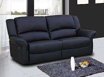 SpeedySofas Charlotte Negro 3 plazas Cuero sillón reclinable ...