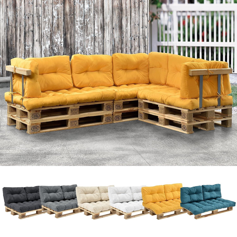 [en.casa] 1x Cuscino Schienale per Divano Paletta Euro [Color Senape] Cuscini per Palette Supporto in/Outdoor mobili Imbottiti [en.casa]®