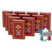 FRANCE CARTES - Jeu de 54 Cartes - Gauloise Rouge - Lot de 10