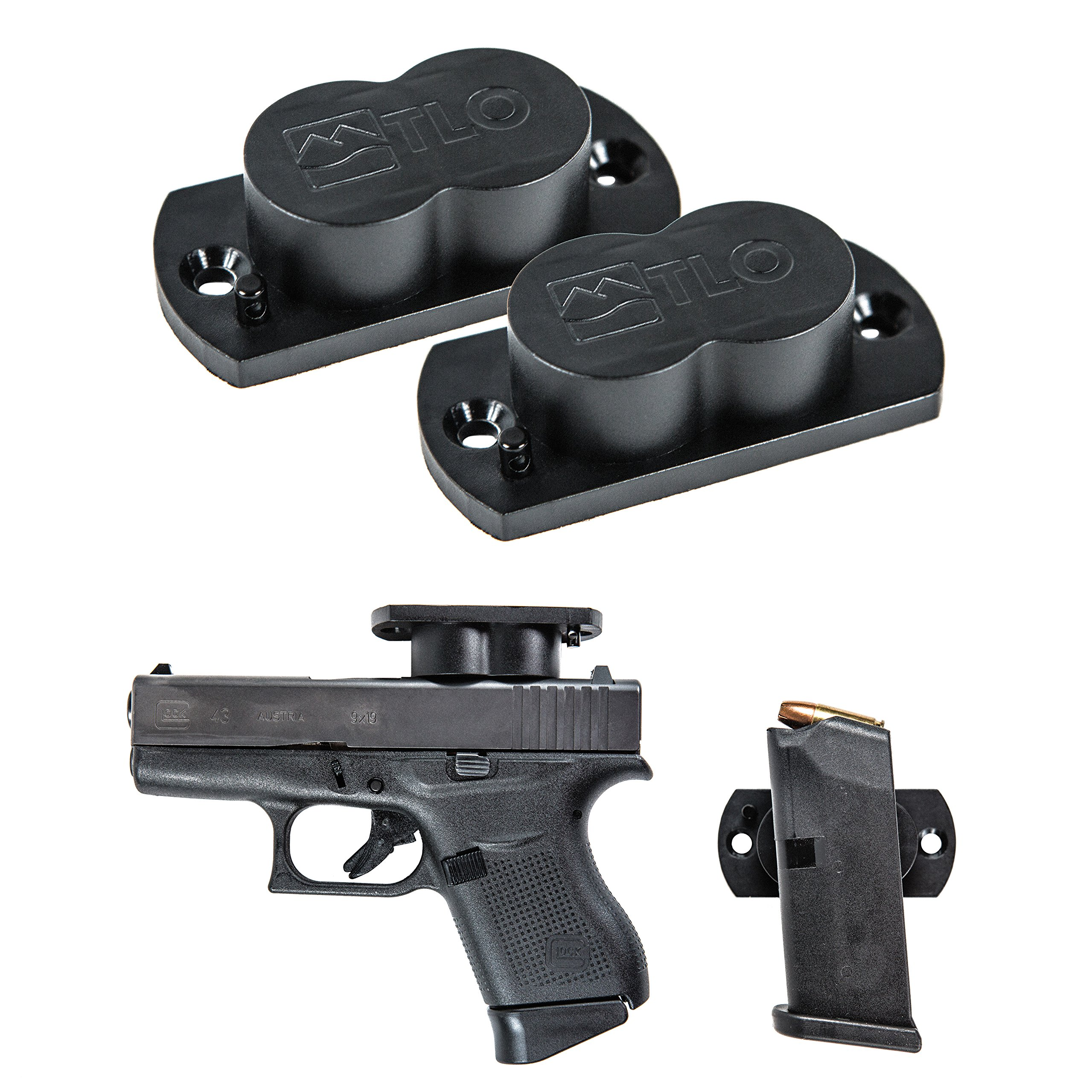 TLO Outdoors GunMag Gun Magnet [2-Pack] - Magnetic Gun Holster Mount for Car, Truck, Home, Office, Gun Safe with Exclusive Safety Cylinder