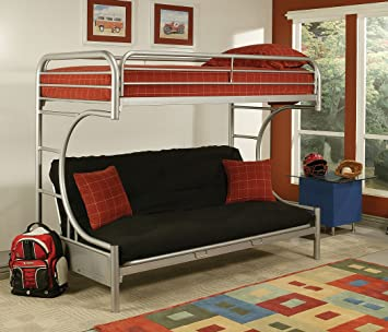 eclipse collection 02091wsi twin full futon bunk bed with full length guard rail metal amazon    eclipse collection 02091wsi twin full futon bunk bed      rh   amazon