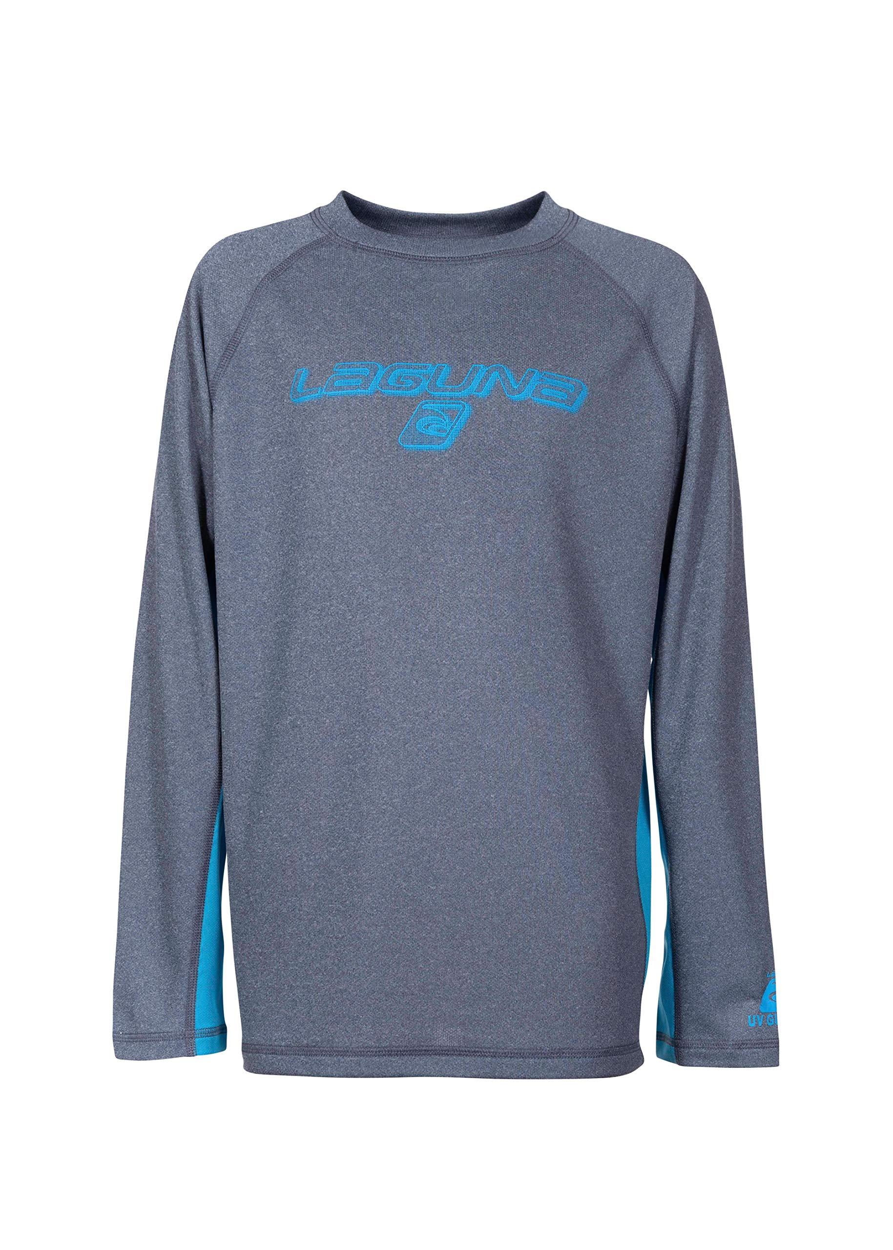 LAGUNA Boys Crewneck Long Sleeve Loose Fit Rashguard Swim Sun Tee Shirt, UPF 50+, Heather Navy Blue/Blue, 10/12