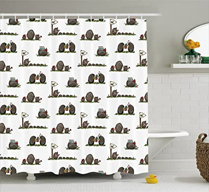 Ambesonne Hedgehog Shower Curtain Life Of Hedgehogs Theme Rodent Mammals Family Romantic Couple Preschool Toddler