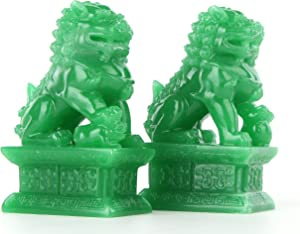 Wealth Porsperity Pair of Fu Foo Dogs Guardian Lion Statues,Best Housewarming Congratulatory to Ward Off Evil Energy,Feng Shui Decor