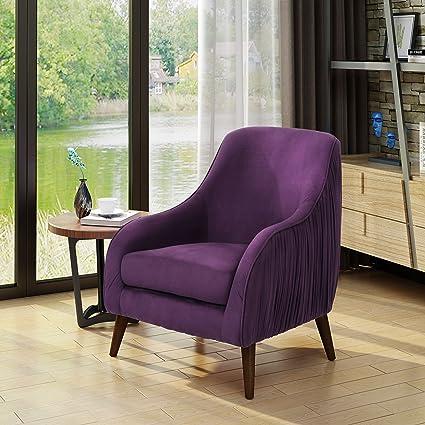 9562b4f6e6bc5 Amazon.com: Christopher Knight Home 303936 Belle Mid Century Modern Purple  Velvet Chair, Dark Espresso: Kitchen & Dining
