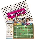 aeioubaby.com BELOHNUNGSTAFEL Magnetisch Groß   Sternchenplan für Wand oder Kühlschrank, 43x32cm. 12 Tätigkeiten, 2 Stifte und 1 Ballon   Geschenkbox perfekt als Geschenk für Kinder und Geburtstage