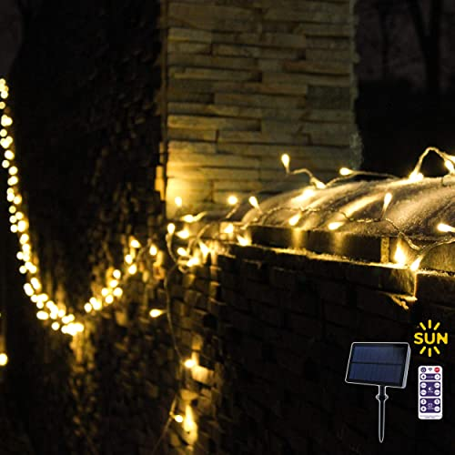 Outdoor Christmas Lights, Solar Powered String Lights, 100 Dimmable Mini LED Lights, Warm White, Double Rechargeable Batteries, Remote Control