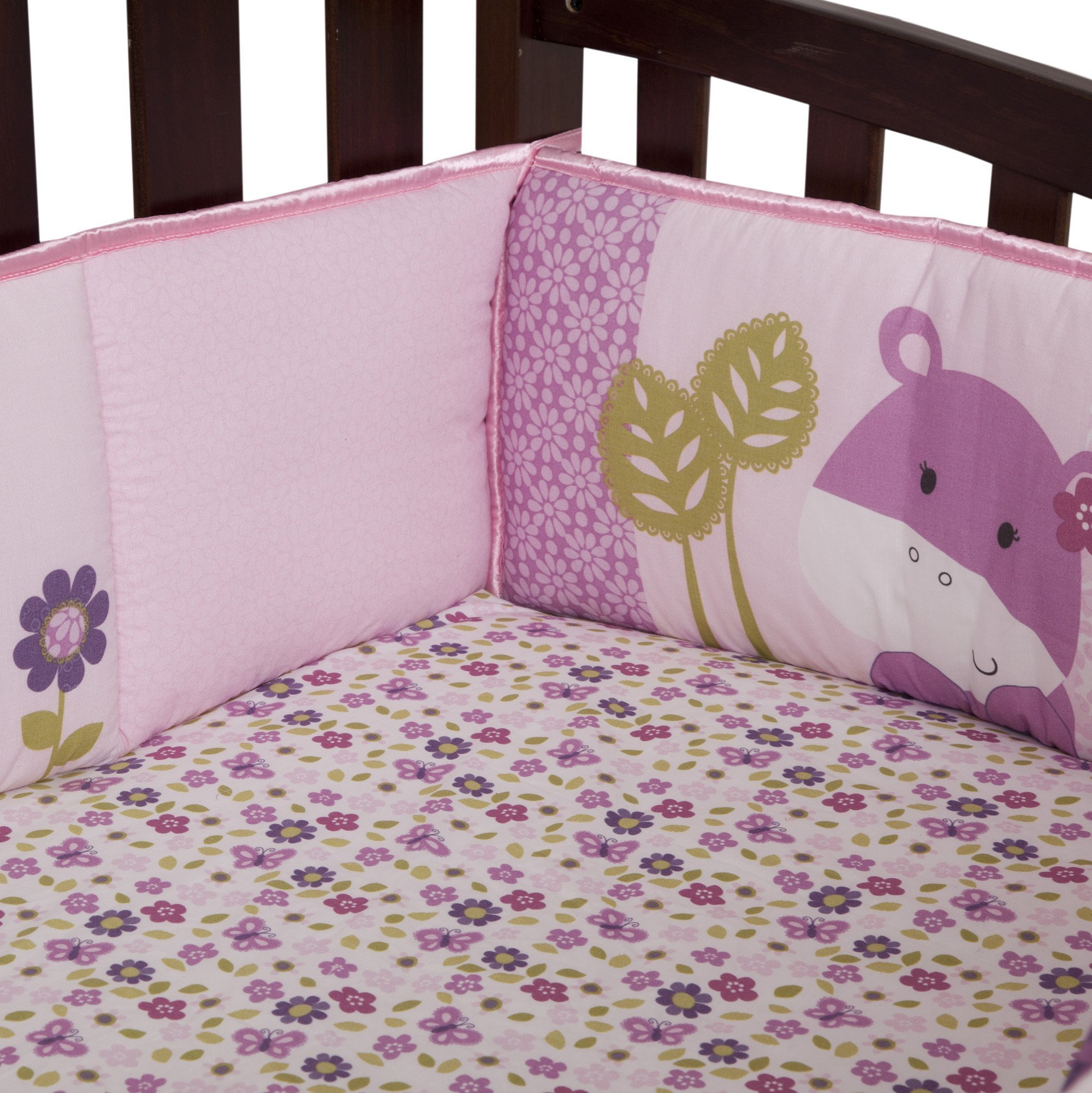 Lambs & Ivy Hopscotch Jungle 4 Piece Crib Bumper, Pink/Plum/Fuscia