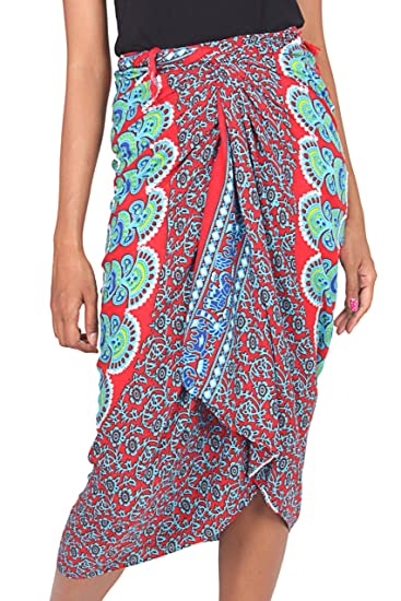 760512dcd NOVICA Red Blue Rayon Sarong Beach Swimsuit Cover Up, Red Sunrise ...