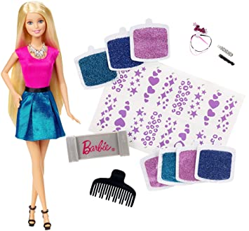 Barbie acconciatura con brillantini