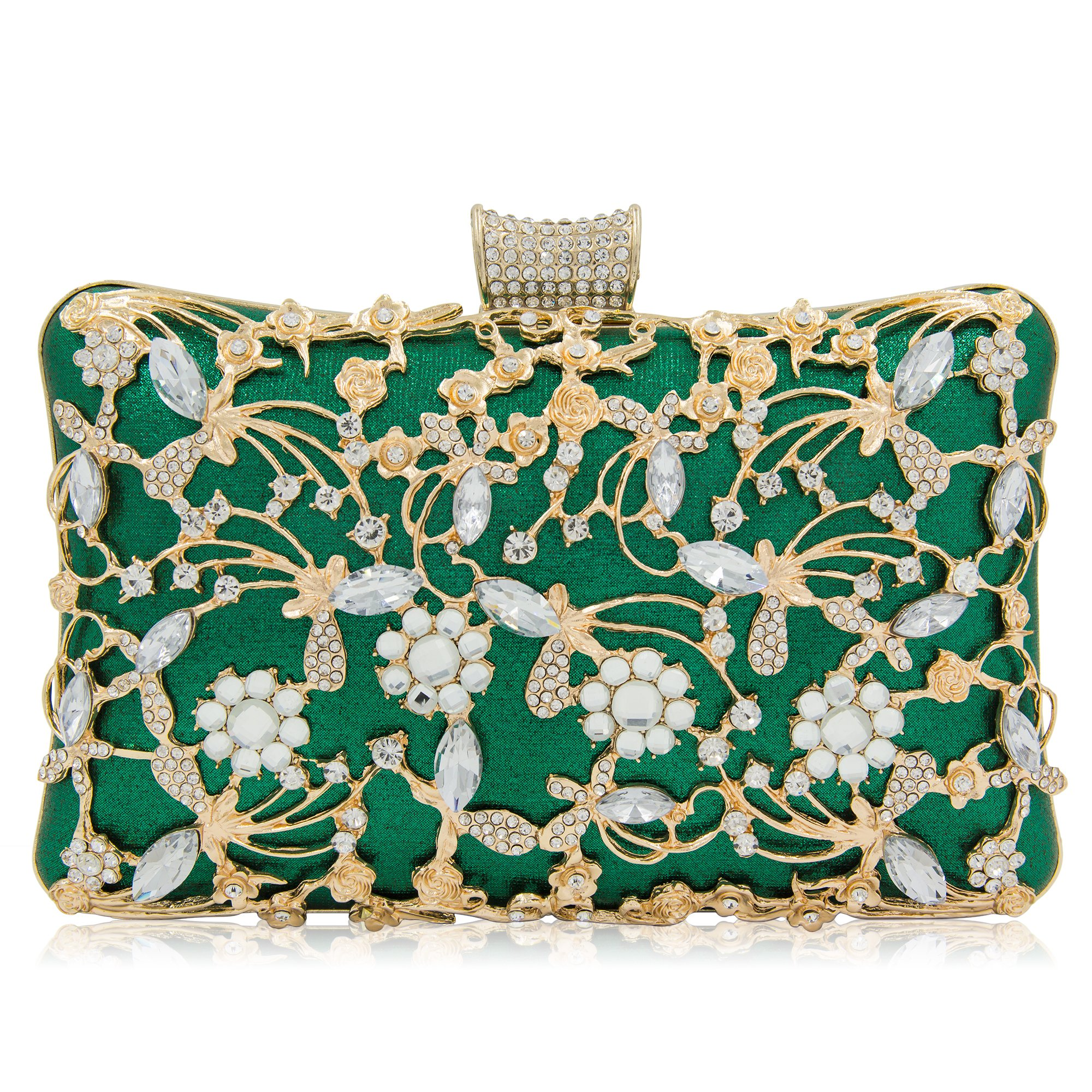 Women Crystal Clutches Bridal Evening Bags And Clutches For Women Large Handbag Clutch Purse With Strap (Green)