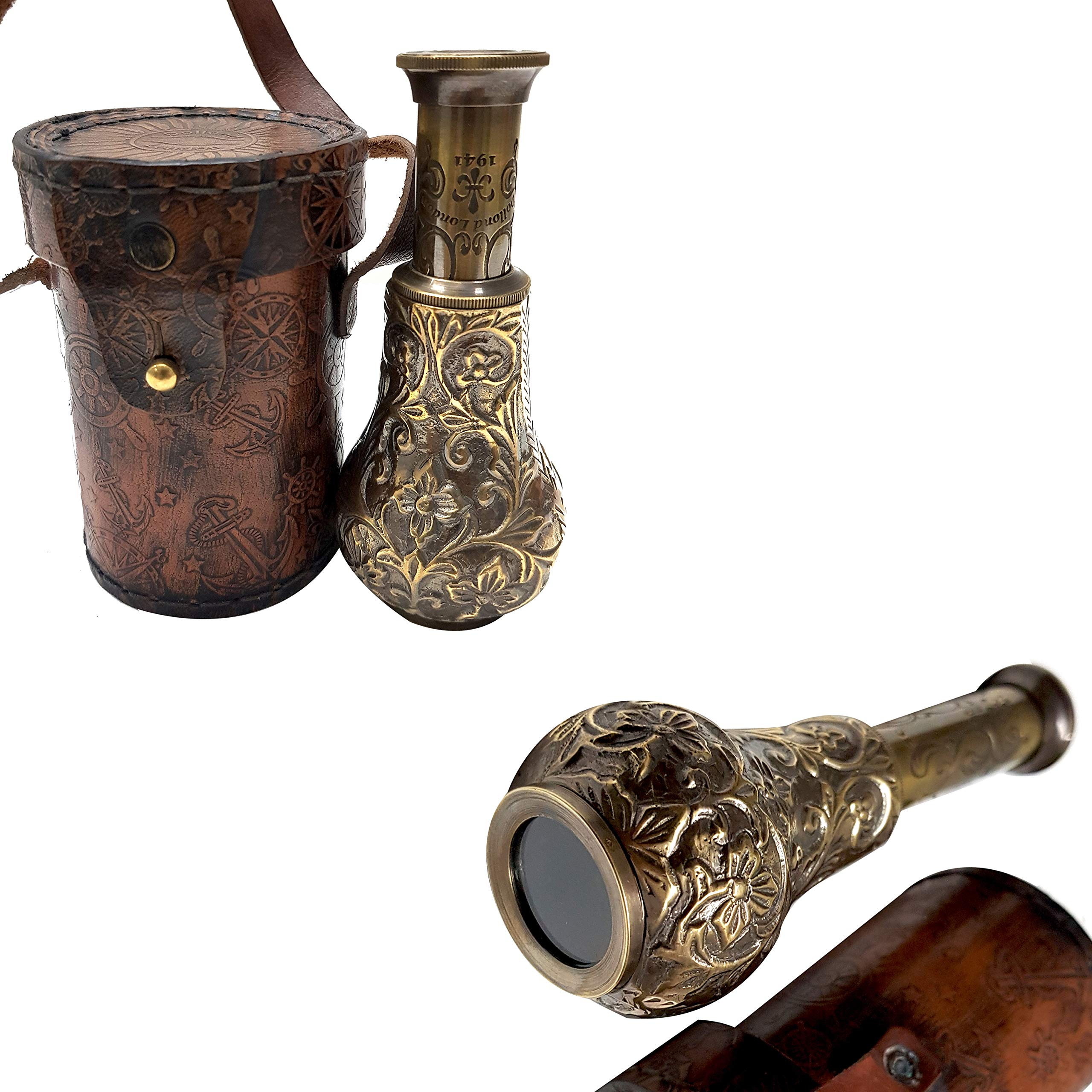 New Handmade Royal Pirates Handicraft Antique Marine Telescope with Leather Case Dollond London Marine Authentic Article Nautical Spyglass by Collectibles Buy