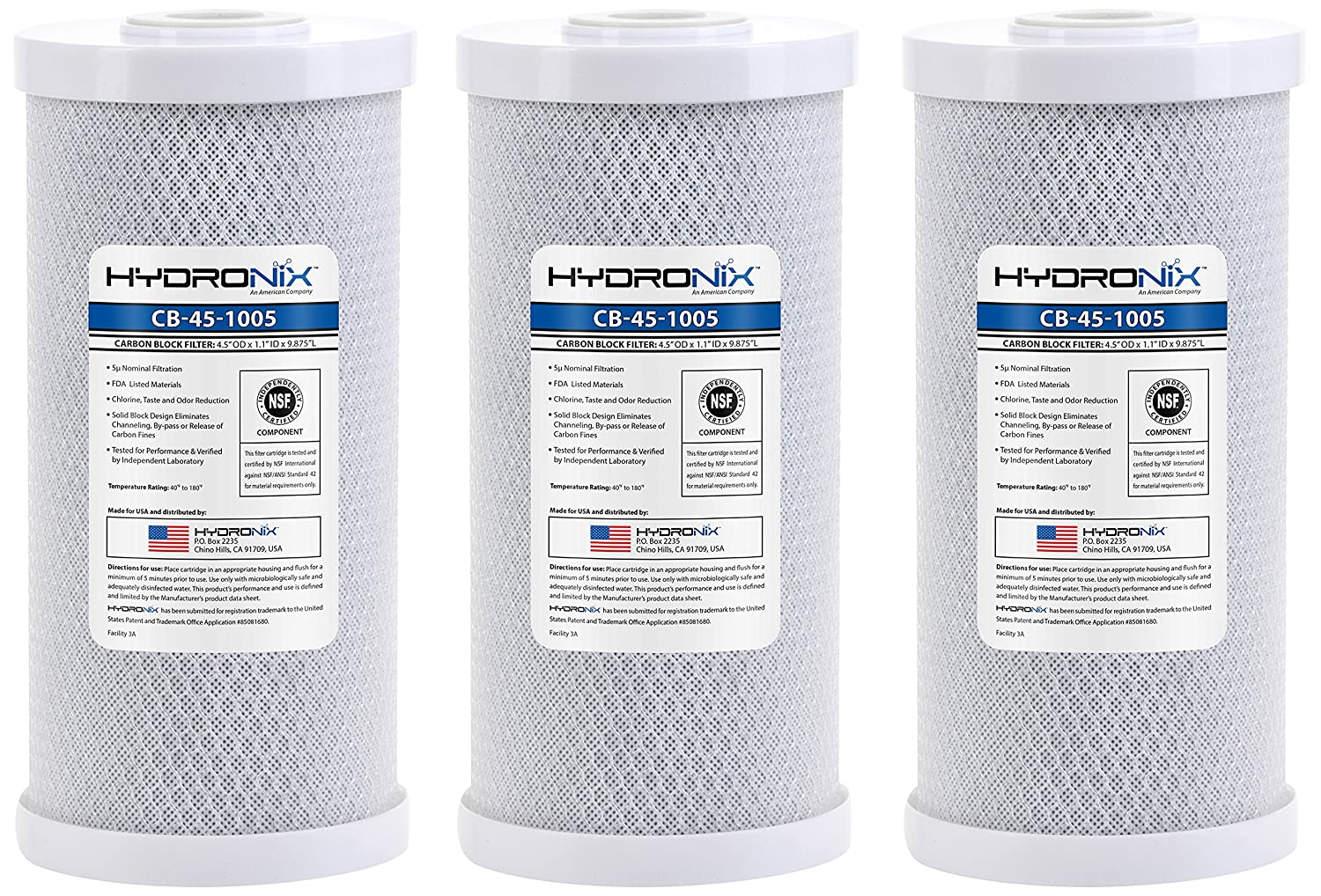 Hydronix HX CB 45 1005 3 Whole House Commercial NSF Coconut Activated Carbon Block Water Filter 4.5 x 10 5 Micron 3 Pack White