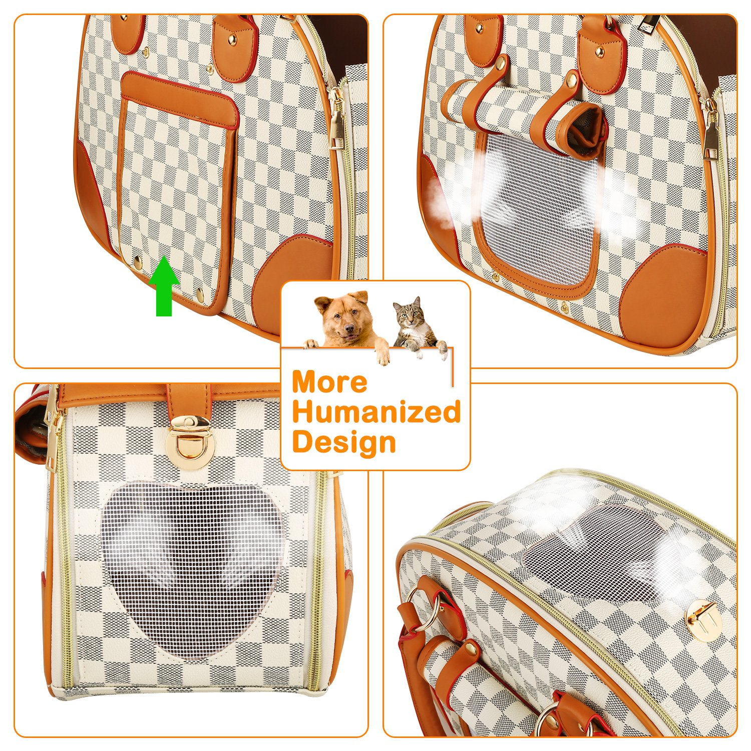 wot i Soft Sided Pet Carrier, Cat Carrier Dog Carrier Airline Approved Pet Carrier Suitable for Small Dogs and Cats, Medium Cats and Dogs, Puppy, Kittens, Small Animals, Luxury PU Leather Travel Bag by wot i (Image #4)