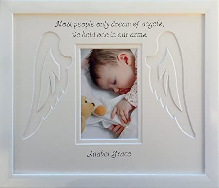 Personalised Baby Infant Child Angel Wings Memorial Photo Frame ...