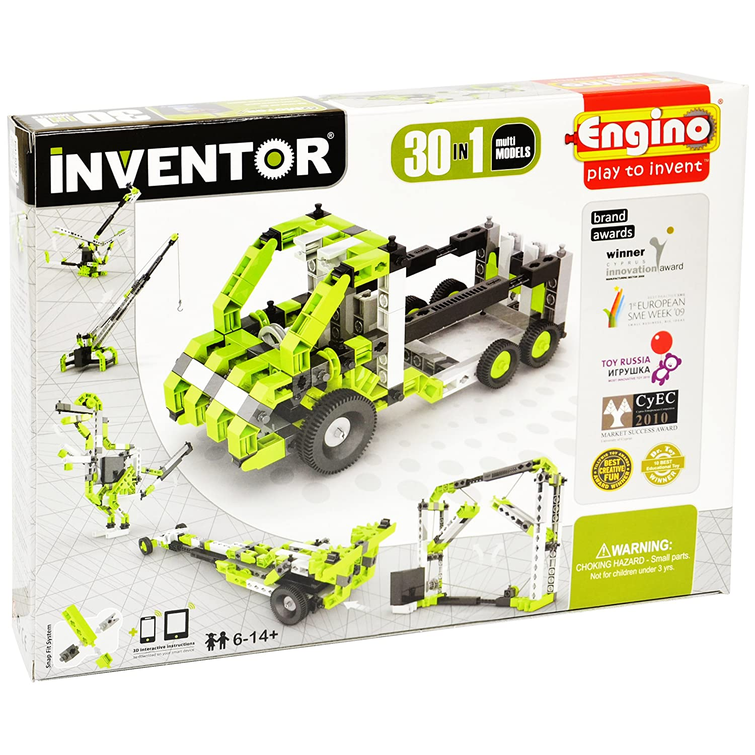 STEM Construction Kit Drawbridge Helicopter Engino Inventor 30-IN-ONE  BUILD 30 Motorized Models Assemble Drag Racer Elevator and so much more T-Rex Truck