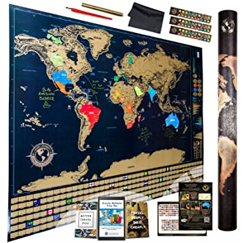 Amazoncom Amazing Scratch Off World Map Ultimate Pack Xtra - World map poster