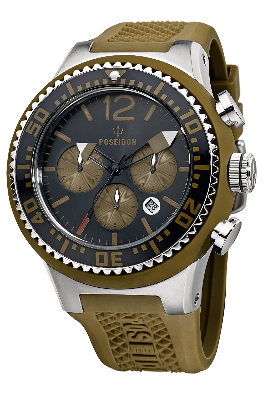 Poseidon Herren-Armbanduhr XL POSEIDON XL Chrono Analog Quarz Silikon P-00454