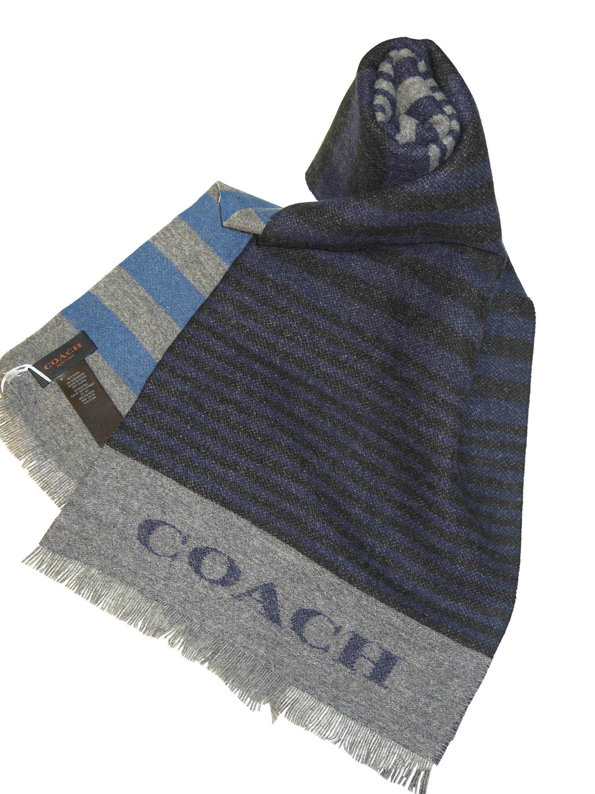 Coach Men's Blue Gray Striped Wool Cashmere Scarf
