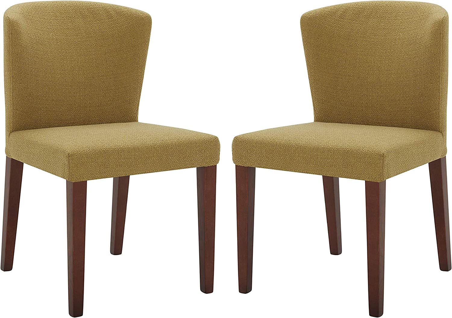 Amazon Com Amazon Brand Rivet Eli Modern Curved Back Dining Chair Set Of 2 19 3 W Lemongrass Chairs