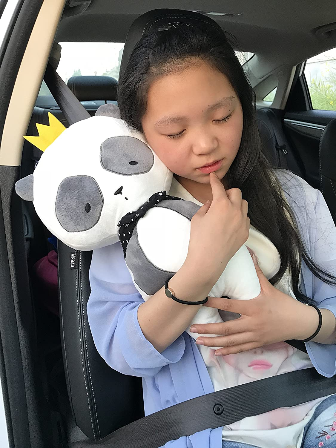 seemehappy Cute Plush Panda Car Seat Belt Cover Seatbelt Pad Cartoon Car Seat Toy for Children or Adults